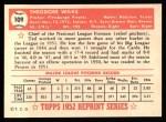 1952 Topps Reprints #109  Ted Wilks  Back Thumbnail