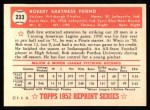 1952 Topps Reprints #233  Bob Friend  Back Thumbnail