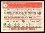 1952 Topps Reprints #31  Gus Zernial Baseballs  Back Thumbnail