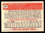 1952 Topps Reprints #397  Forrest Main  Back Thumbnail
