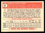 1952 Topps Reprints #62   Chuck Stobbs Back Thumbnail