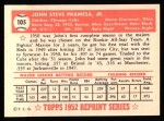 1952 Topps Reprints #105   Johnny Pramesa Back Thumbnail