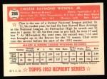 1952 Topps Reprints #288  Chet Nichols  Back Thumbnail