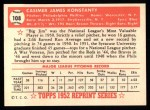 1952 Topps Reprints #108  Jim Konstanty  Back Thumbnail