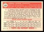 1952 Topps Reprints #242  Tom Poholsky  Back Thumbnail