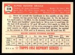 1952 Topps Reprints #228   Al Brazle Back Thumbnail
