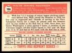 1952 Topps Reprints #186   Walt Masterson Back Thumbnail