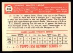 1952 Topps Reprints #342   Clem Labine Back Thumbnail