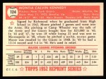 1952 Topps Reprints #124  Monte Kennedy  Back Thumbnail