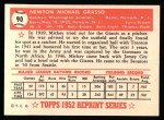 1952 Topps Reprints #90  Mickey Grasso  Back Thumbnail