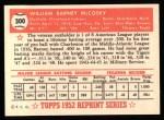 1952 Topps Reprints #300   Barney McCosky Back Thumbnail