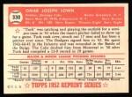 1952 Topps Reprints #330   Turk Lown Back Thumbnail
