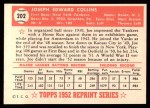 1952 Topps Reprints #202   Joe Collins Back Thumbnail