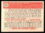 1952 Topps Reprints #294  Walker Cooper  Back Thumbnail
