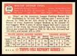 1952 Topps Reprints #222  Hoot Evers  Back Thumbnail