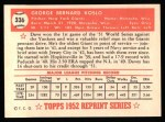 1952 Topps Reprints #336  Dave Koslo  Back Thumbnail