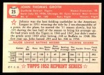 1952 Topps Reprints #25  Johnny Groth  Back Thumbnail