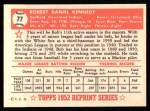 1952 Topps Reprints #77  Bob Kennedy  Back Thumbnail