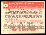 1952 Topps Reprints #84   Vern Stephens Back Thumbnail