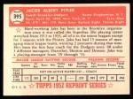 1952 Topps Reprints #395  Jake Pitler  Back Thumbnail