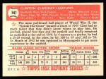 1952 Topps Reprints #141   Clint Hartung Back Thumbnail