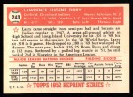 1952 Topps Reprints #243   Larry Doby Back Thumbnail