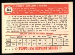 1952 Topps Reprints #285   Cliff Fannin Back Thumbnail