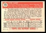 1952 Topps Reprints #256   Pete Suder Back Thumbnail