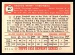 1952 Topps Reprints #217  Snuffy Stirnweiss  Back Thumbnail