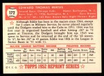 1952 Topps Reprints #172  Eddie Miksis  Back Thumbnail