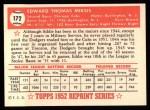 1952 Topps Reprints #172   Eddie Miksis Back Thumbnail