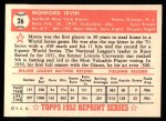 1952 Topps Reprints #26  Monte Irvin  Back Thumbnail