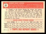 1952 Topps Reprints #101  Max Lanier  Back Thumbnail