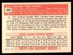 1952 Topps Reprints #403  Bill Miller  Back Thumbnail
