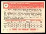 1952 Topps Reprints #103  Cliff Mapes  Back Thumbnail