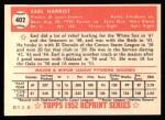 1952 Topps Reprints #402  Earl Harrist  Back Thumbnail
