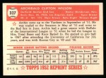 1952 Topps Reprints #327   Al Wilson Back Thumbnail