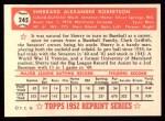1952 Topps Reprints #245   Sherry Robertson Back Thumbnail
