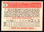 1952 Topps Reprints #53  Chris Van Cuyk  Back Thumbnail