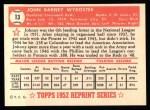 1952 Topps Reprints #13  Johnny Wyrostek  Back Thumbnail