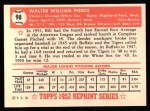 1952 Topps Reprints #98  Billy Pierce  Back Thumbnail