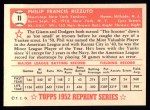 1952 Topps Reprints #11  Phil Rizzuto  Back Thumbnail