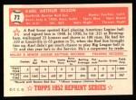 1952 Topps Reprints #72  Karl Olson  Back Thumbnail