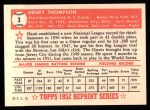 1952 Topps Reprints #3  Hank Thompson  Back Thumbnail