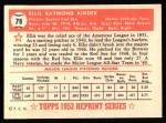 1952 Topps Reprints #78  Ellis Kinder  Back Thumbnail