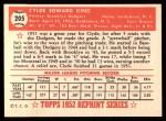 1952 Topps Reprints #205   Clyde King Back Thumbnail