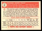 1952 Topps Reprints #63  Howie Pollet  Back Thumbnail
