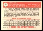 1952 Topps Reprints #93  Al Sima  Back Thumbnail