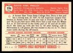 1952 Topps Reprints #226  Dave Philley  Back Thumbnail