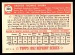 1952 Topps Reprints #326   George Shuba Back Thumbnail